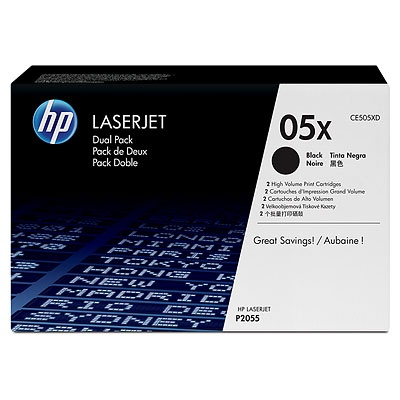 HP 05X Black 2-pack LJ Toner Cart, 2 x 6 500 str, CE505XD