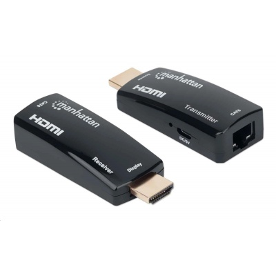 MANHATTAN HDMI Extender by Single Cat5e/6 up to 60m, Black, Retail Box