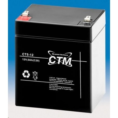 Baterie - CTM CT 12-5 (12V/5Ah - Faston 187), životnost 5let
