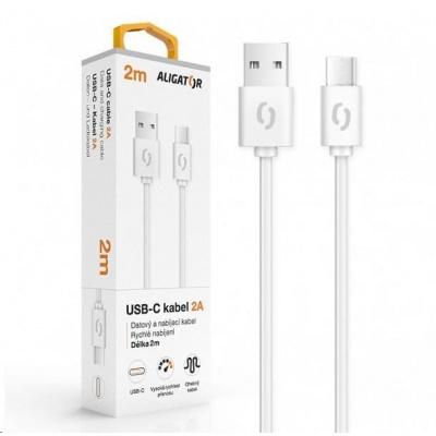 Aligator datový a nabíjecí kabel, konektor USB-C, 2A, 2m, bílá
