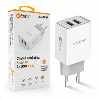 Aligator síťová nabíječka, 2x USB, smart IC, 2,4 A, bílá