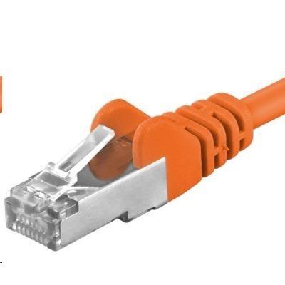 PREMIUMCORD Patch kabel CAT6a S-FTP, RJ45-RJ45, AWG 26/7 0,5m oranžová
