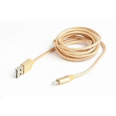GEMBIRD Kabel CABLEXPERT USB 2.0 Lightning (IP5 a vyšší) nabíjecí a synchronizační kabel, opletený, 1,8m, zlatý, blister