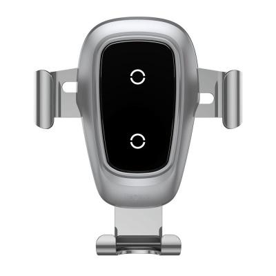 Baseus Gravity kovový držák a bezdrátová nabíječka do auta 10W (do ventilační mřížky), stříbrná