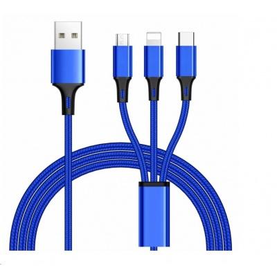 PremiumCord Kabel 3 in 1 USB, 3 konektory USB Type-C + micro USB + Lightning pro Apple, 1.2m