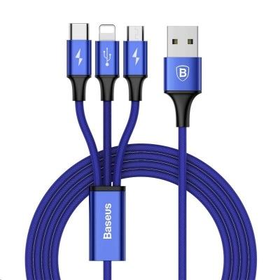 Baseus Rapid Series nabíjecí / datový kabel 3v1 USB (Micro USB + Lightning + USB-C) 3A 1,2m, modrá