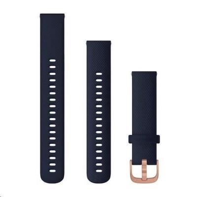 Garmin řemínek Quick Release 18mm, silikonový tmavě modrý, růžovozlatá přezka