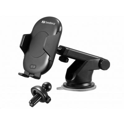 Sandberg držák do auta IR 10W s bezdrátovým nabíjením Qi, automatické uchycení telefonu