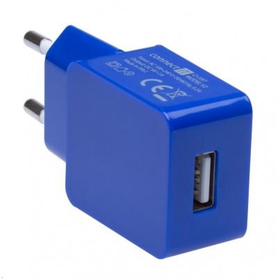 CONNECT IT COLORZ nabíjecí adaptér 1xUSB 1A, modrá