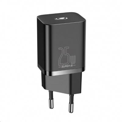 Baseus Super Si rychlonabíječka 1C 25W EU + kabel Type-C/Type-C 3A 1m černá