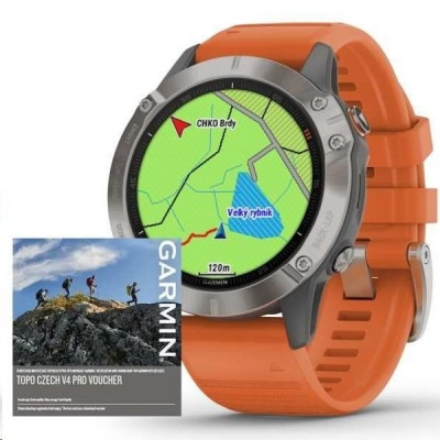 Garmin GPS sportovní hodinky fenix6S PRO Sapphire, Titanium/\Orange Band (MAP/Music)