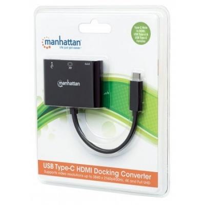 MANHATTAN multifunkční převodník z USB 3.1 type C Male na VGA, USB 3.0 A a USB C Females