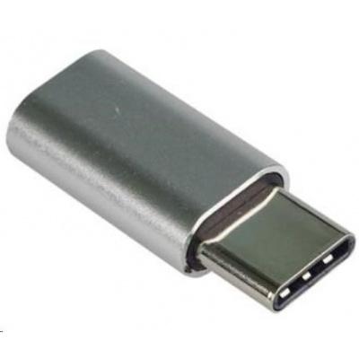 PREMIUMCORD Adaptér USB 3.1 C/male - USB 2.0 Micro-B/female, stříbrný