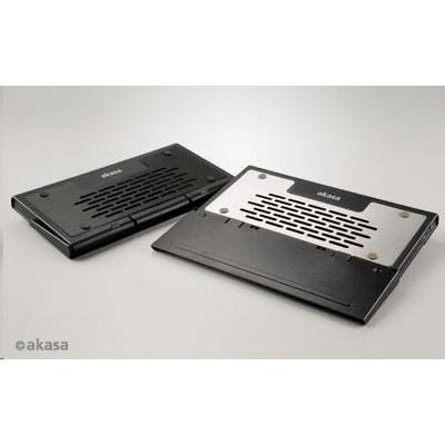 """AKASA chladič notebooku AK-NBC-29BK, Echo, 12-15.4"""" ntb, aktivní, skládací, stříbrná/matná černá"""