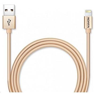 ADATA Sync & Charge Lightning kabel - USB A 2.0 C89, 100cm, hliníková, zlatá