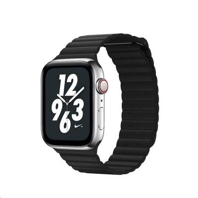 COTEetCI kožený magnetický řemínek Loop Band pro Apple Watch 38 / 40mm černý