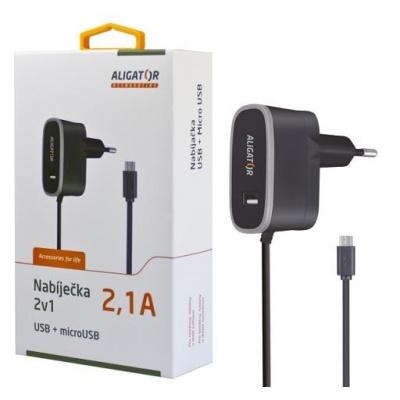 Aligator síťová nabíječka 2v1, microUSB + USB výst. 5V/2,1A, černá