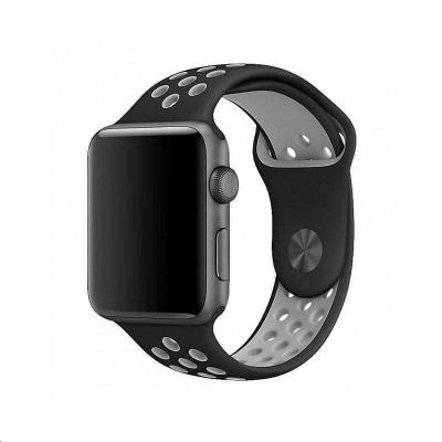 COTEetCI sportovní děrovaný řemínek pro Apple Watch 42 / 44mm černá-šedá