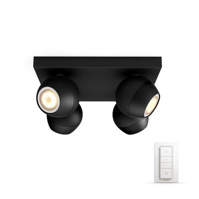 PHILIPS BUCKRAM Bodové svítidlo, Hue White ambiance, 230V, 4x5.5W GU10, Černá