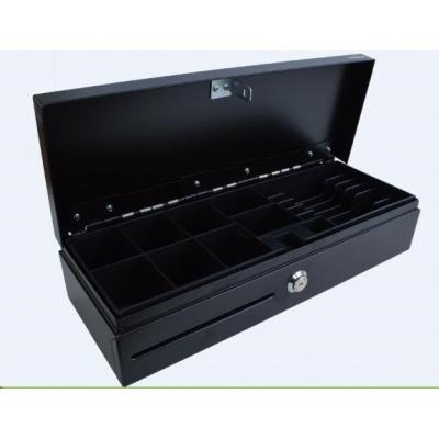 Virtuos pokladní zásuvka FT-460C Flip top, s víkem, 9-24V, černá - s kabelem