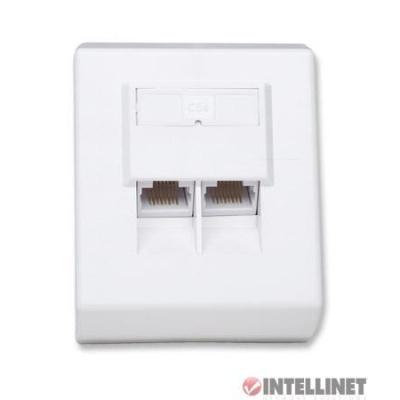 Intellinet Cat5e zásuvka 2 porty RJ45 STP, úhlová na omítku, stíněná, bílá