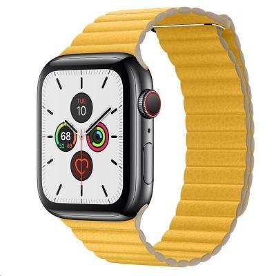 COTEetCI kožený magnetický řemínek Loop Band pro Apple Watch 42 / 44mm žlutý