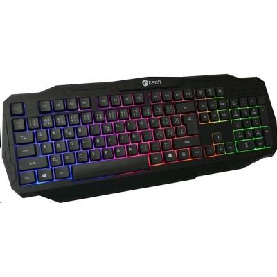 C-TECH klávesnice Arcus (GKB-15), casual gaming, CZ/SK, duhové podsvícení, USB