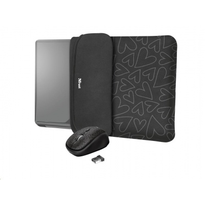 """TRUST myš + obal na notebook Yvo Reversible 15.6"""" Laptop Sleeve and Wireless Mouse - Black Hearts"""