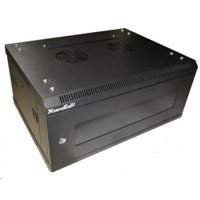 """XtendLan 19"""" jednodílný nástěnný rozvaděč 4U, šířka 600mm, hloubka 450mm, skleněné dveře-kouřové sklo,nosnost 60kg,černý"""