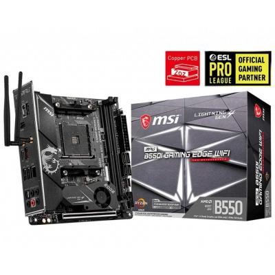 MSI MB Sc AM4 MPG B550I GAMING EDGE WIFI, AMD B550, 2xDDR4, VGA, mini-ITX, Wi-Fi
