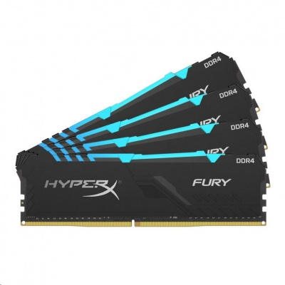 DIMM DDR4 64GB 2666MHz CL16 (Kit of 4) KINGSTON HyperX FURY Black RGB