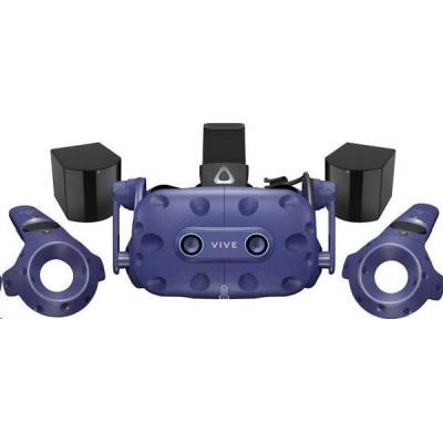 HTC Vive Pro Eye Virtual Reality Headset (Kit), Blue (VR glasses, Controller, built-in audio)