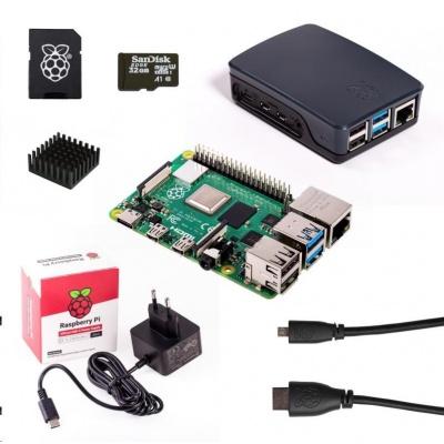 Raspberry Sada Pi 4B/2GB, (SDHC karta 32GB + adaptér, Pi4 Model B, krabička, chladič, HDMI kabel, napájecí zdroj), černá