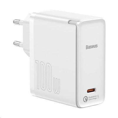 Baseus GaN2 rychlonabíječka 1C 100W EU + kabel Type-C/Type-C 100W (20V/5A) 1.5m bílá