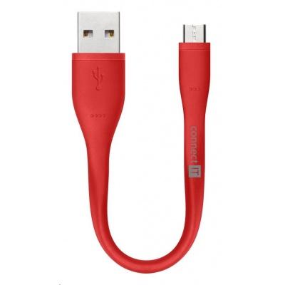 CONNECT IT Wirez Micro USB - USB pro power banky, červený, 13 cm