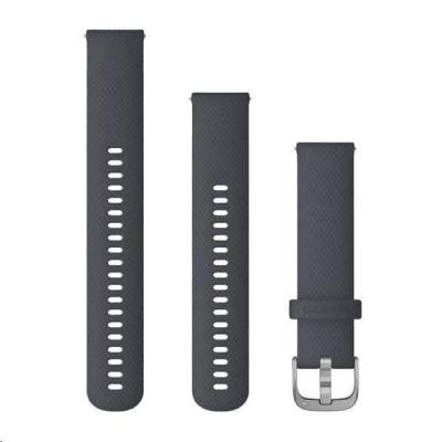 Garmin řemínek Quick Release 20mm, silikonový tmavě šedý, stříbrná přezka