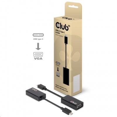 Club3D Adaptér aktivní USB 3.1 typ C na VGA (M/F), 15cm