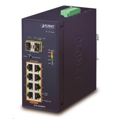 Planet IGS-1020PTF, PoE switch, 8xRJ45 GbE,2xSFP, 8x PoE 802.3af/at,až 30W/port, 240W PoE budget, -40 až +75°C, DC48-56V