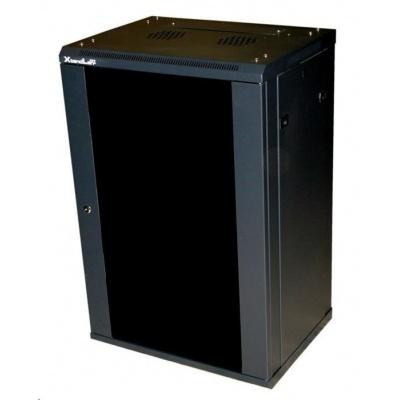 """XtendLan 19"""" jednodílný nástěnný rozvaděč 18U, dodáván rozložený,hloubka 600mm,skleněné dveře-kouřové sklo, nosnost 60kg"""