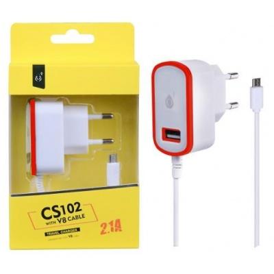 PLUS síťová nabíječka CS102, konektor micro USB + 1x USB, 2,1 A, bílá s červeným okrajem