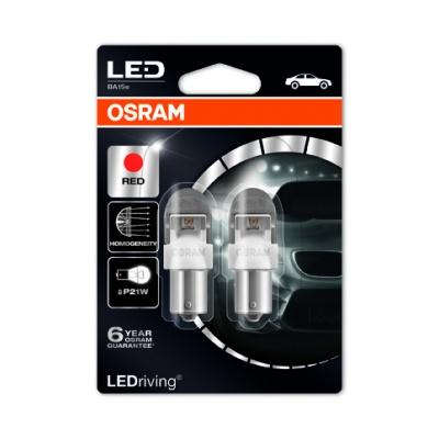 """OSRAM autožárovka """"P21W"""" LEDriving® Premium 12V 2W BA15s červená (Blistr 2ks)"""