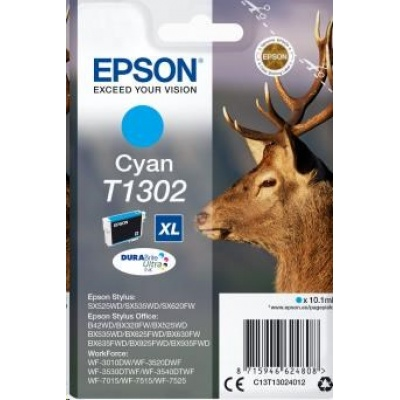 "EPSON ink bar Singlepack ""Jelen"" Cyan T1302 DURABrite Ultra Ink (10,1 ml)"