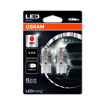 "OSRAM autožárovka ""W21W"" LEDriving® Premium 12V W3x16d červená (Blistr 2ks)"