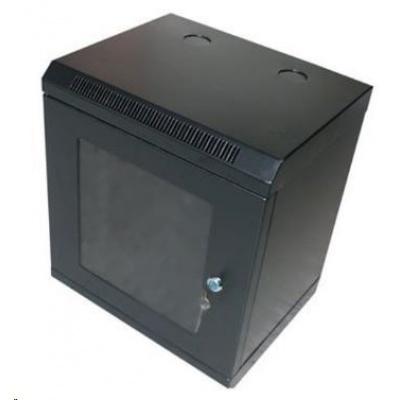"""XtendLan 10"""" jednodílný nástěnný rozvaděč 12U, šířka 350mm, hloubka 280mm, černý"""