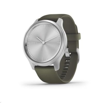 Garmin monitorovací náramek a hodinky vivomove3 Style, Silver/Green Band