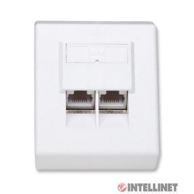 Intellinet Cat6 zásuvka 2 porty RJ45 STP, úhlová na omítku, stíněná, bílá