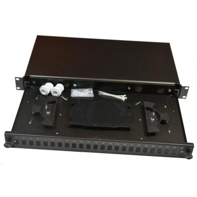 Optická vana výsuvná 1U, 24x SC simplex (24x LC duplex, 24x E2000), včetně kazety na 24 svarů, černá