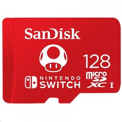 SanDisk MicroSDXC karta 128GB for Nintendo Switch (R:100/W:90 MB/s, UHS-I, V30,U3, C10, A1) licensed Product,Super Mario