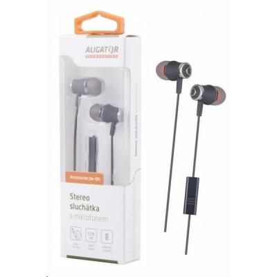 Aligator stereo sluchátka AE02 s mikrofonem, 3,5 mm jack, šedá