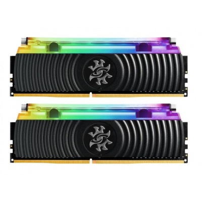 DIMM DDR4 16GB 3000MHz CL16 (KIT 2x8GB) ADATA SPECTRIX D80 RGB, Hybrid Cooling, Dual Color Box, Black